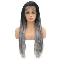 QQXCAIW Длинные Синтетические кружева спереди парик для женщин афроамериканские плетеные искусственные волосы косы парики
