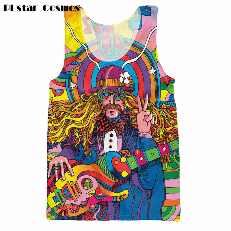 PLstar Cosmos Hippie Musician Tank Tops 3d Colorful A Groovy Hippie Unisex Vest Summer Fashion Women Men Vest Free Shipping