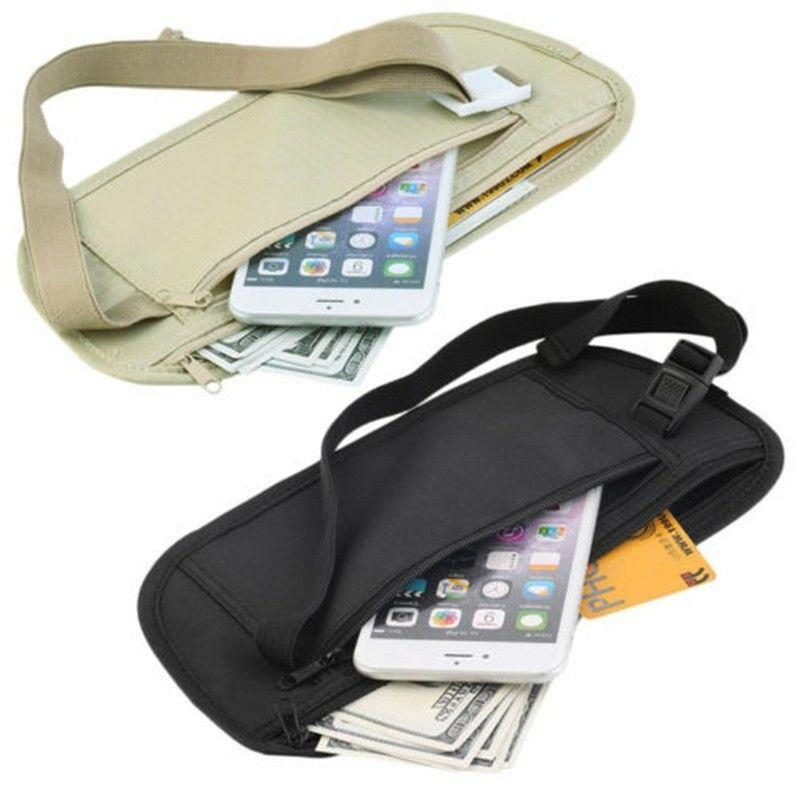 Hot Sale  Zipper Travel Money Passport ID Card Waist Security Hidden Belt Holder Bag Small Purse Phone Key Pouch Adjustable Band