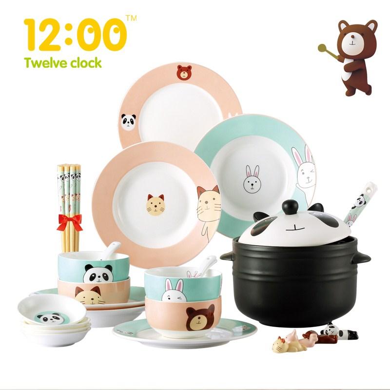 Great 28pcs/Set Cartoon Japanese Ceramic Dinnerware Lovely Plates Dishes Bowls  Creative Tableware Birthday Gift Kitchen Accessories