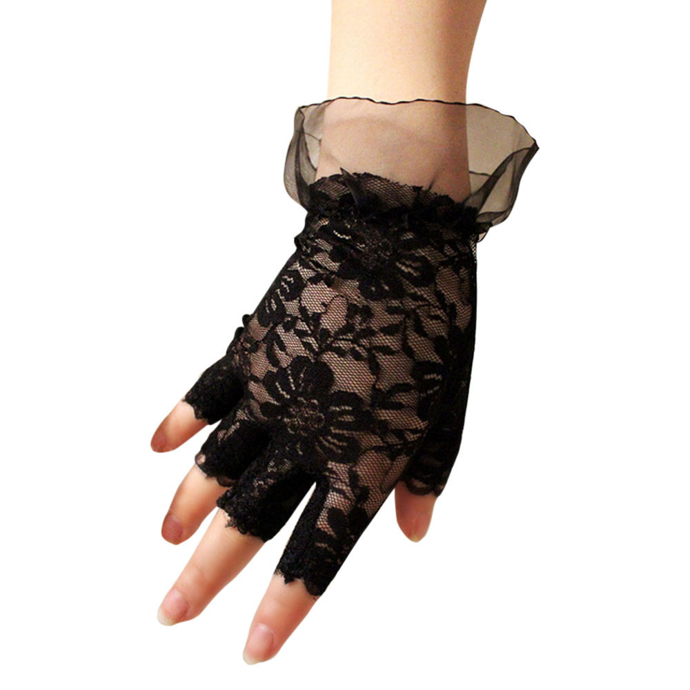 Adult White Half Palm Gloves Satin Cropped Ladies Fancy Dress Accessory New