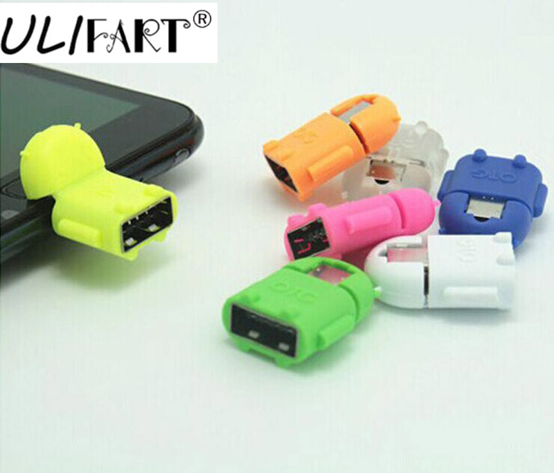 ULIFART Cute 2 in1 Mini Robot Shape Micro USB To USB 2.0 Converter OTG Adapter ReaderCable For Android Smartphone Tablet and PC