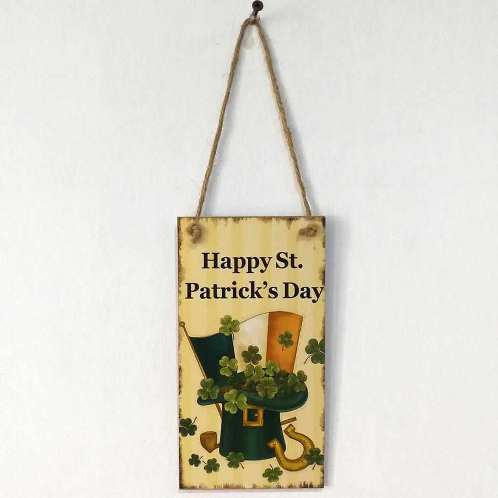 Счастливый День Святого Патрика письмо Doorplate деревянная доска Настенный декор висит кулон вывеска планка Декор