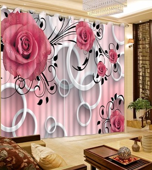 Window Treatments 3D Curtains For Bedroom romantic circle rose Printing Sheer Curtains Modern Pink Luxury Drapes