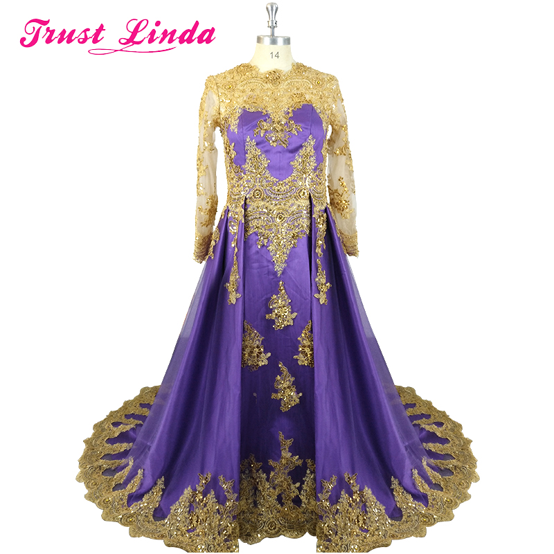 Gorgeous Gold Lace Appliques A-Line Long-Sleeves Mother Of The Bride Dresses Luxury Beaded Pearls Prom Gowns Plus Size Hot Dress