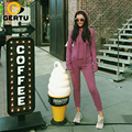 GERTU 2017 Women's new solid color hooded velvet thickening two-piece sporting suit  Sets Hoodies Tracksuits 2 Piece Set