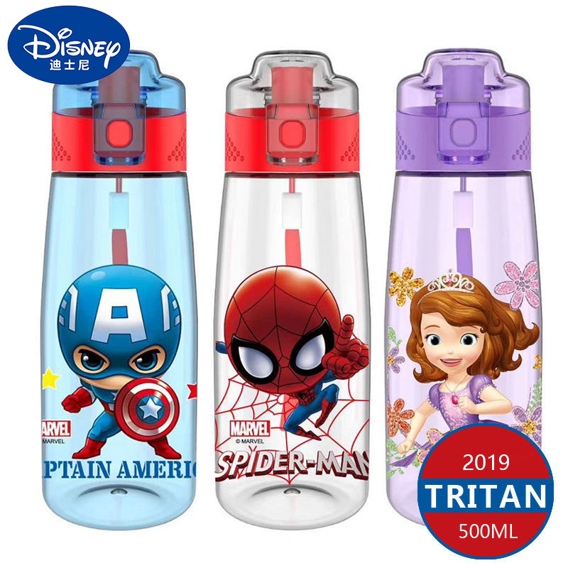 Kids Baby Water Bottle Tritan BPA Free Russian Spain Children's Cup Mickey Minnie Baby Feeding Bottle Straw Water Cup 450-500ml