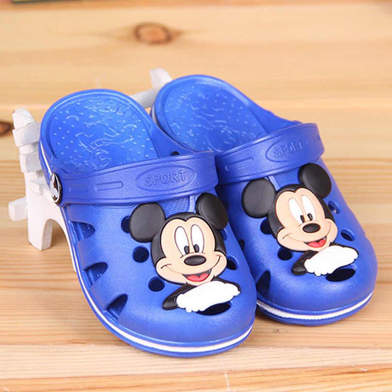 1851539a4 2018 Новые Детские Дачная обувь для маленьких мальчиков с Микки Маусом  Минни Летние тапочки для детей