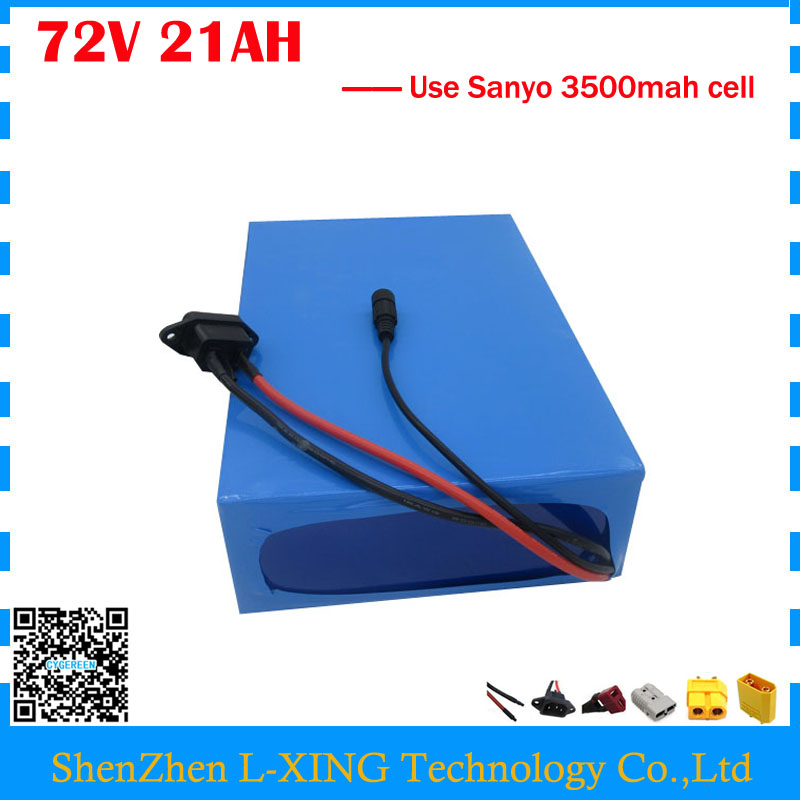 High quality 72V 21AH scooter battery 72V 21AH Lithium battery 72V Battery pack use Sanyo 3500mah cell 40A BMS Free customs tax free customs taxes and shipping balance scooter home solar system lithium rechargable lifepo4 battery pack 12v 100ah with bms