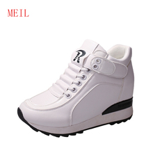 Casual Wedges Women Shoes Hidden Heels Height Increase 6CM Woman Wedge Platform High Quality Leisure White Black Sneakers