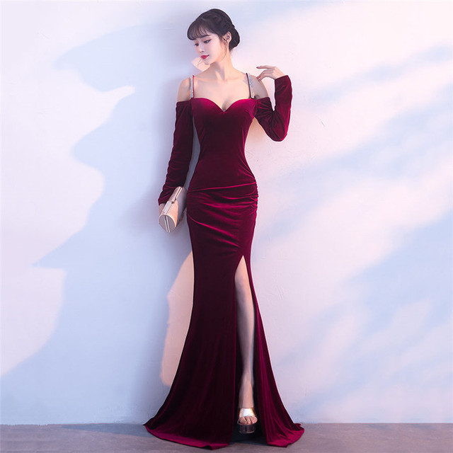 9e0667694336 Corzzet Vestidos De Festa Party Night Club Dresses Off-shoulder Wine Red  Velvet Full Sleeve