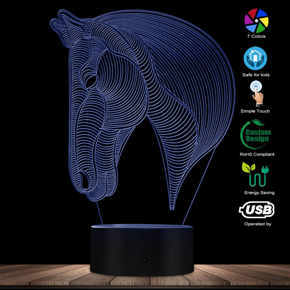 3D Horse Head LED Novelty Night Light Calming Desk Light Animals Color Changing LED Illuminated Display Visual Table Decor Lamp