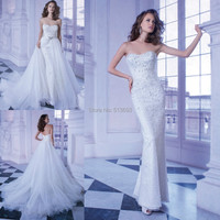 China Free Shipping Plus Size Girl Long With Luxury Crystals Beads Bridal Gown 2014 Beach Wedding