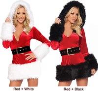 2016 Yeni Kapşonlu Noel Baba Noel Elbise Kadın Ince Uydurma Uzun Kollu Parti Elbise Seksi Benzersiz Noel Kostüm Kış vestidos