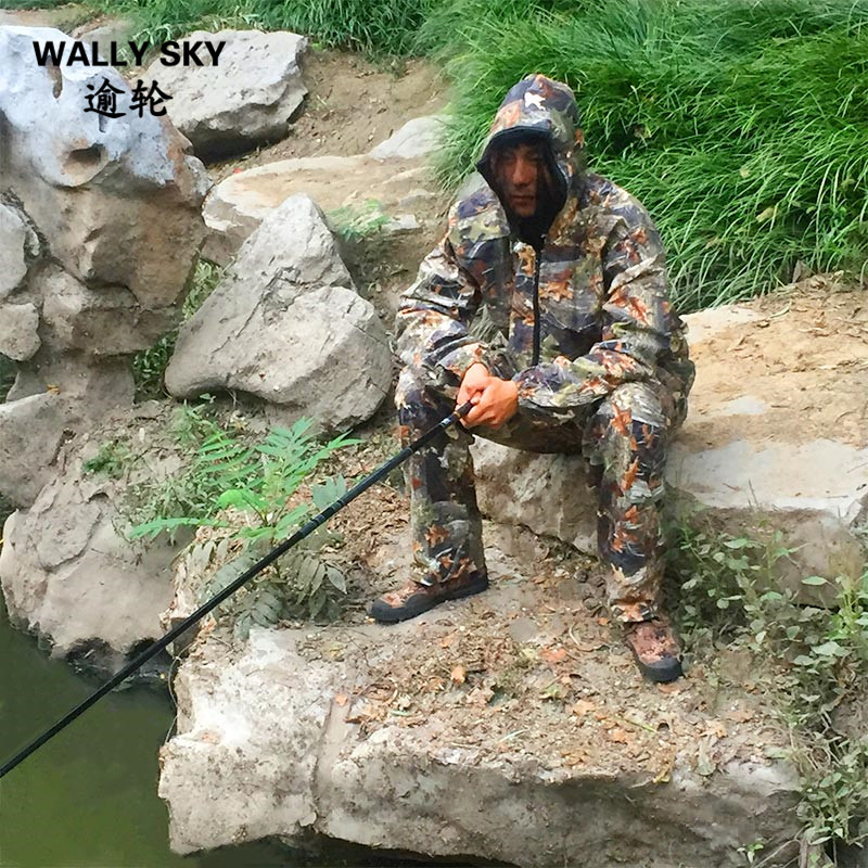 Cotton Summer Autumn Maple Leaf Fishing Suit with Anti-mosquito Breathable Sunscreen Fishing Clothes Bionic Camouflage Clothing hedging models breathable cool xihansugan fishing clothes fishing clothes male mosquito fish suit