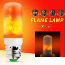 LED Bulb E27 Flame Lamp 220V Effect Flickering Fire Light Bulb110V Corn 2835 SMD 42leds Fake Burning