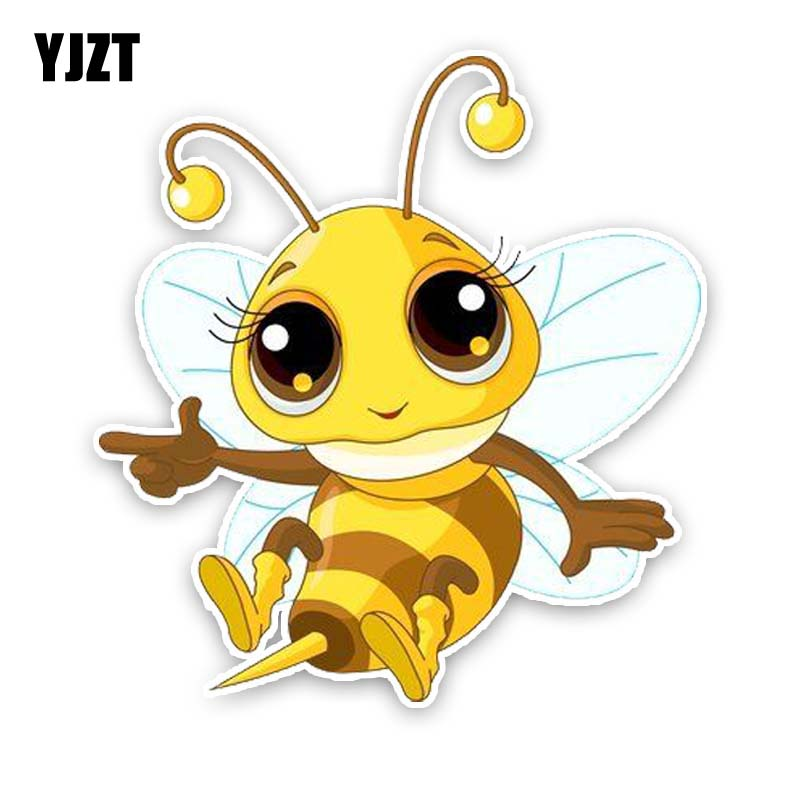 YJZT 12.1CM*13CM A Lovely Bee Decal Car Sticker PVC Modelling 12-300741
