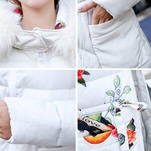 Image 5 - Chaqueta de invierno para mujer, abrigo largo con capucha de piel, Parka cálida acolchada de algodón, ambos lados, 2019