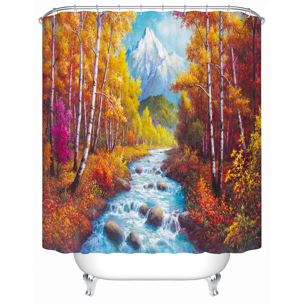 3d scenery shower curtain liner fabric water resistant cloth curtain for bath