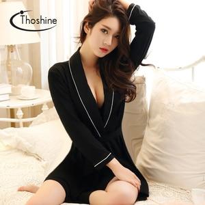 Image 1 - Thoshine printemps été automne femmes chinois soie Satin Robes femme supérieure Robes de bain dame chemise de nuit fille maison vêtements de nuit