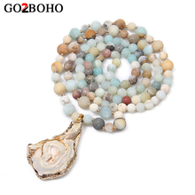 Go2bohe Long Necklace Women Bohemian Ethnic Natural Stone Pendants Knotted Fashion Statement Necklaces Female Jewelry Choker