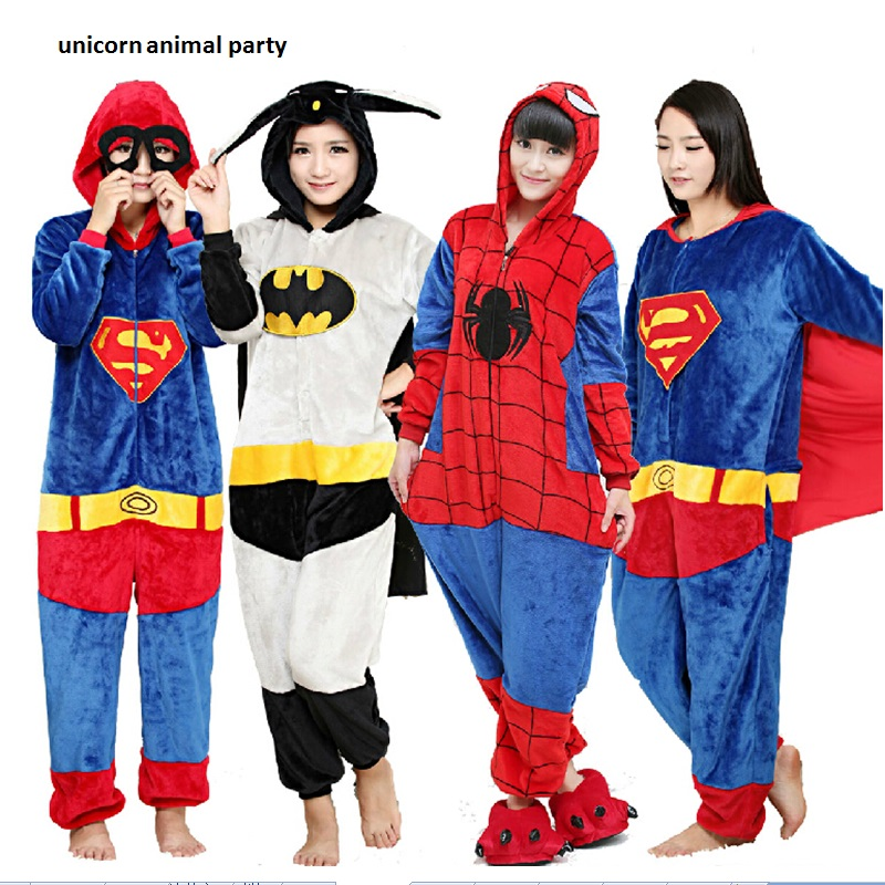 Kigurumi Batman Spiderman Iron Man Adult Onesie Superman Superhero Pajamas Unisex Pyjamas Captain America Cosplay Costume image