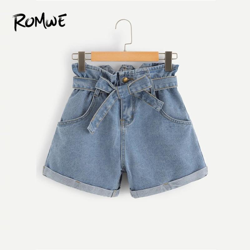ROMWE Blue Self Belted Rolled Hem Denim   Shorts   New 2019 Young Summer Pocket   Shorts   Women Button Zipper Fly Plain   Shorts