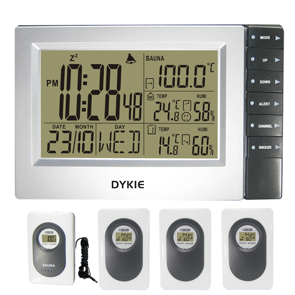 Free Shipping DYKIE Weather Station Desktop Clock In/Outdoor Hygrometer Sauna Temperature Digital Alarm Clock 4 Transmitters все цены