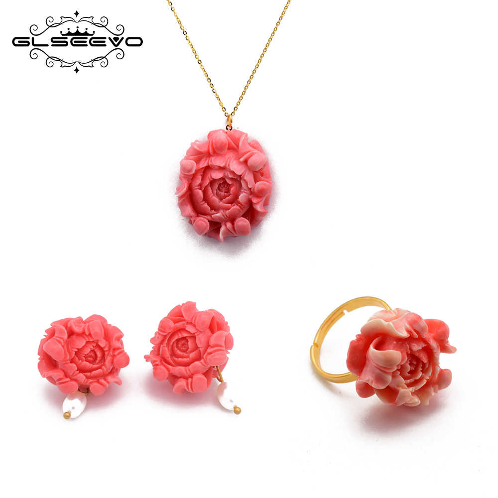 GLSEEVO Coral Flower Ring Earrings Pendant Necklace Sets For Women Wedding Birthday Handmade Jewelry ijoux en argent 925 GS0008