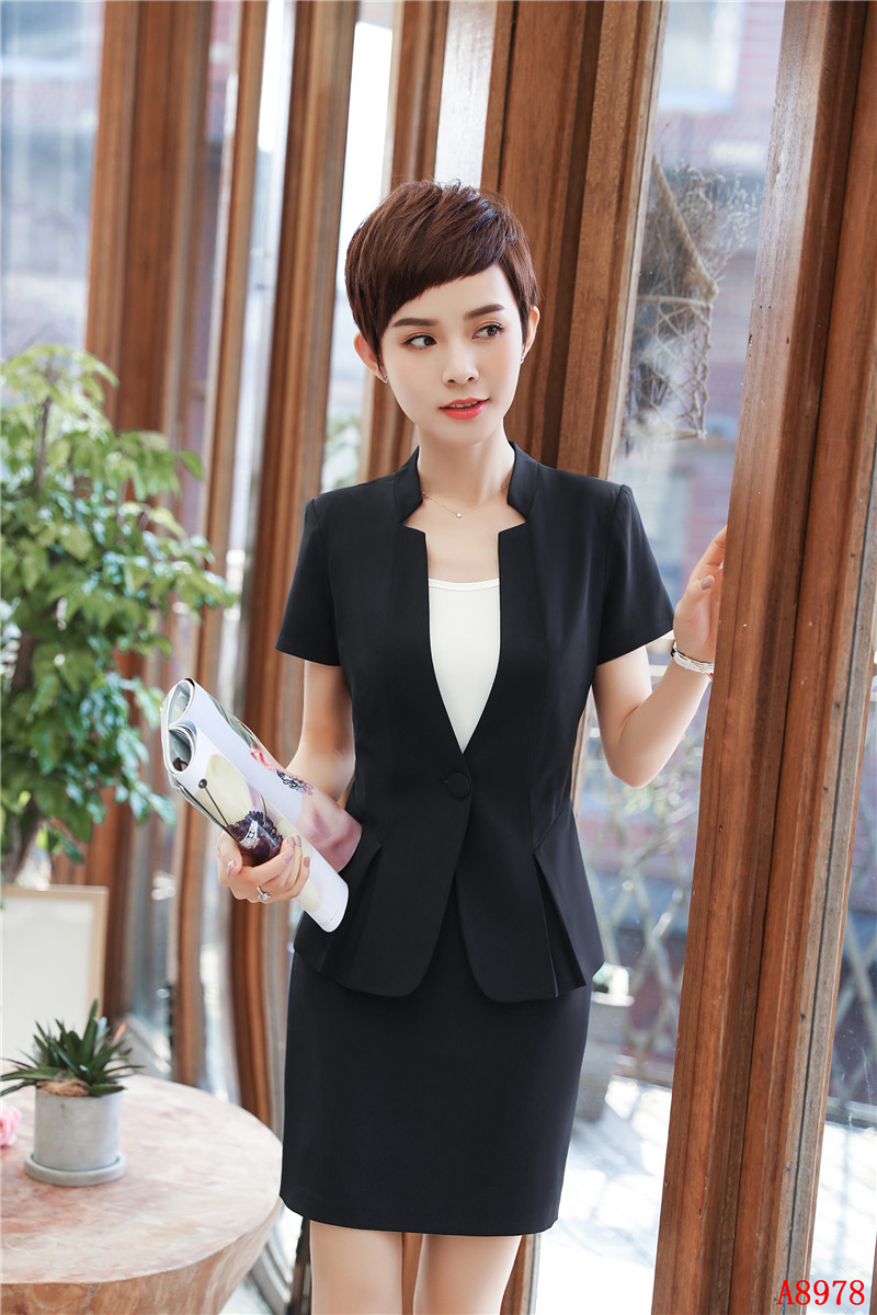 2a370831b32 New Style Summer Formal Black Blazer Women Business Suits Skirt And ...