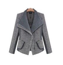 2016 женская осень и зима большой лацкане толстые шерстяные пальто куртки свободные версия серый и черный