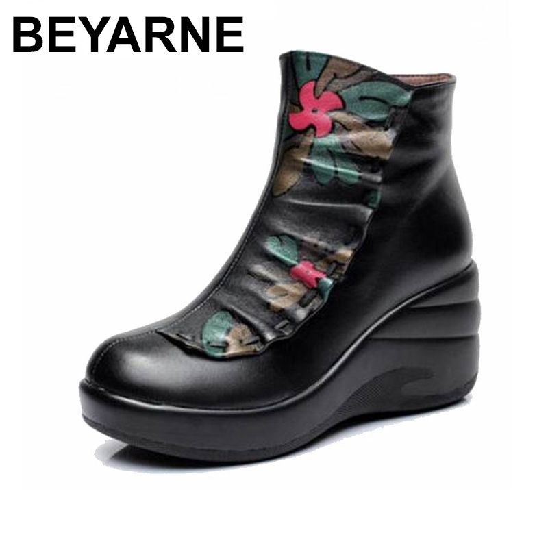 BEYARNE  Winter Woman boots Shoes Plush Ladys Boots Women National trend genuine leather boots handmade ankle Shoes flowerBEYARNE  Winter Woman boots Shoes Plush Ladys Boots Women National trend genuine leather boots handmade ankle Shoes flower