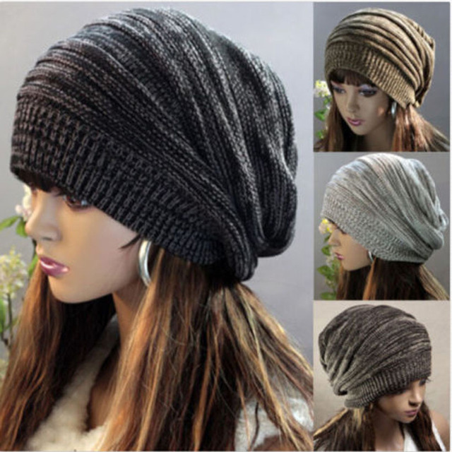 Women Beanie Slouch Skullcap Hippie Cap men Striped Knited Wool Ski Unisex  Hat hair accessories 93d8b300600