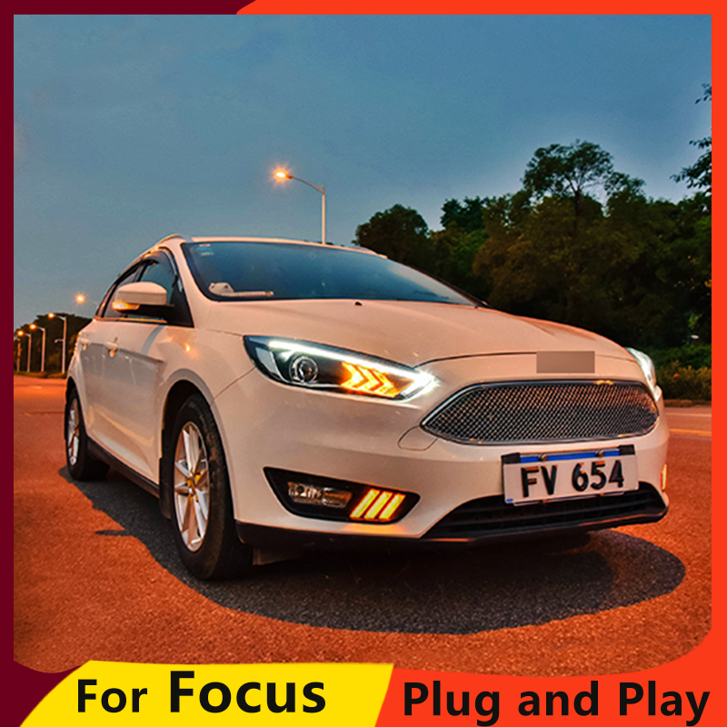 KOWELL Car Styling For 2015 Ford FOCUS headlights For FOCUS LED head lamp Angel eye led