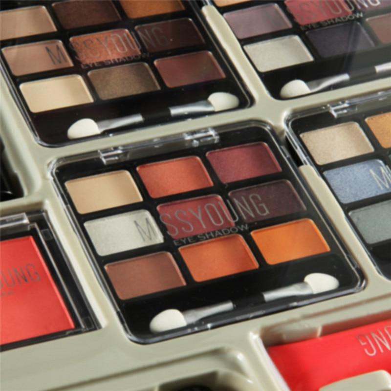 Trousse à outils de maquillage comprenant un fard à paupières mat rouge à lèvres brillant à lèvres fond de teint brosse vernis à ongles Kit de maquillage Kit cosmétique Maquiagem - 2