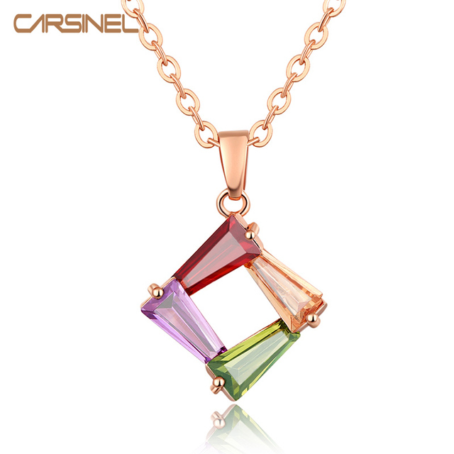 Fashion CARSINEL Brand Rose Gold color Colorful Necklace CZ Zircon
