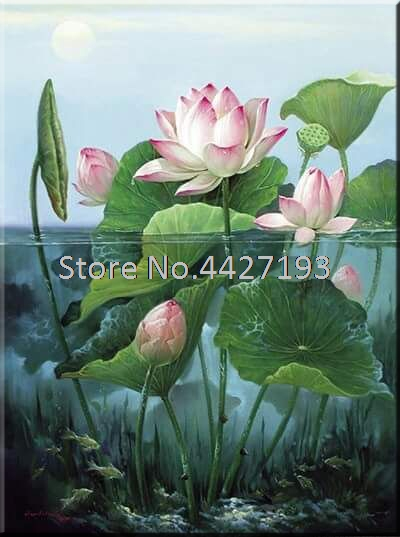 5D DIY Diamond Painting Lotus Full Square Rhinestones Cross Stitch Mosaic Embroidery Home Decoration Resin Rhinestones Crafts in Diamond Painting Cross Stitch from Home Garden
