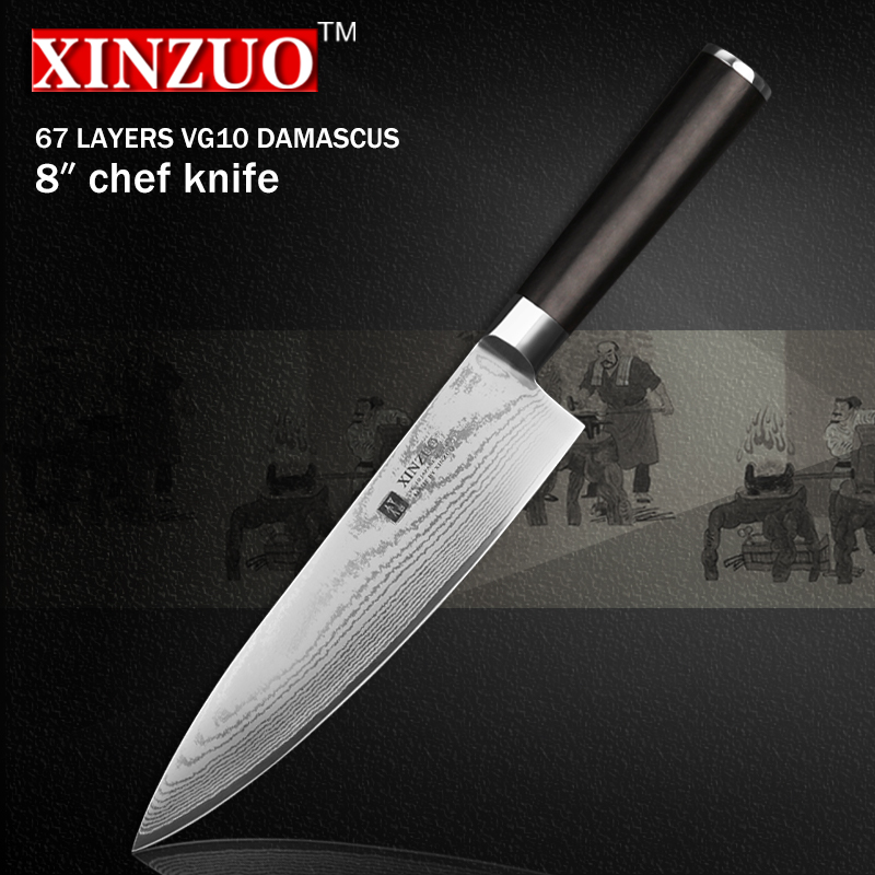 XINZUO 8 inch chef font b knife b font 67 layers Japanese VG10 Damascus kitchen font