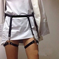 New Sexy Punk Handcrafted Waist Cincher Leather Thigh High Suspenders Garter Belt Leg Harness