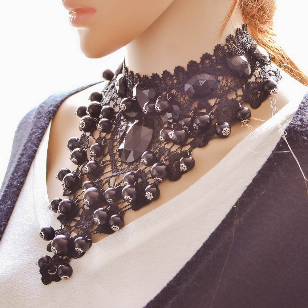 Short Choker Necklaces Pendant Female Jewelry Women Accessories False-Collar Black Fashion