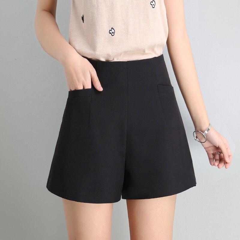 WKOUD Women's Summer Shorts High Waist Solid Chiffon Wide Leg Shorts Hot Short Pants Female Zip Up Waist Thin Trousers DK6039