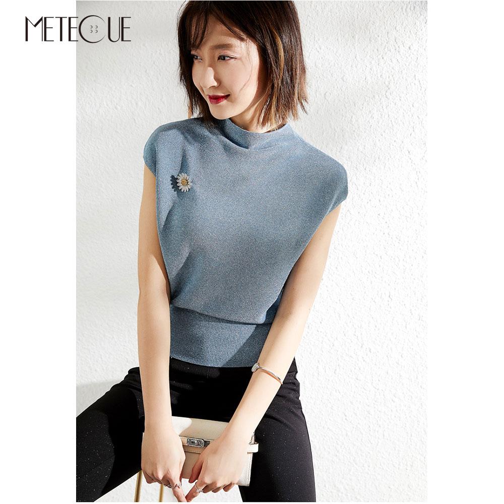 Golden Line Knitted Women Tee Shirt 2019 Spring Summer Fashion Short Sleeve Women Tops 2019 Spring