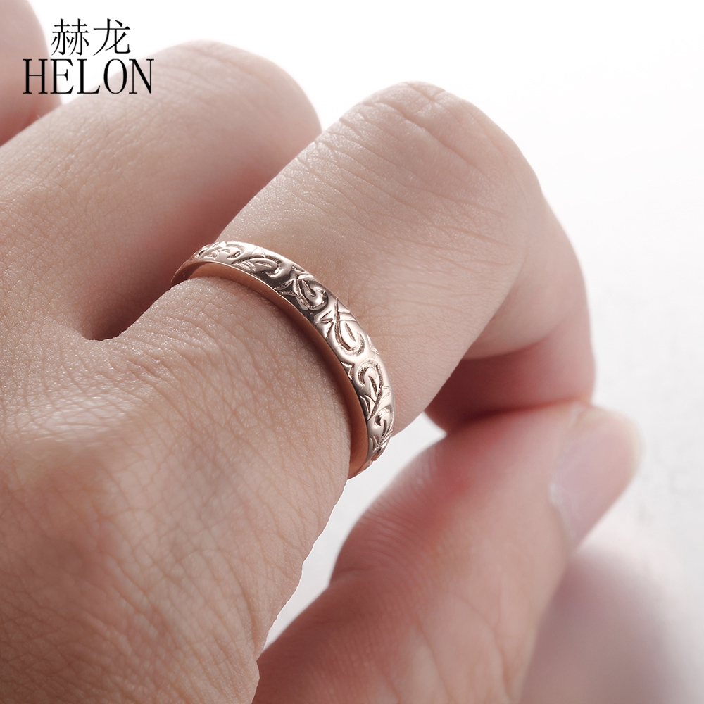 HELON Solid 10k (417) Rose Gold Nice Art Deco Anniversary Wedding ...