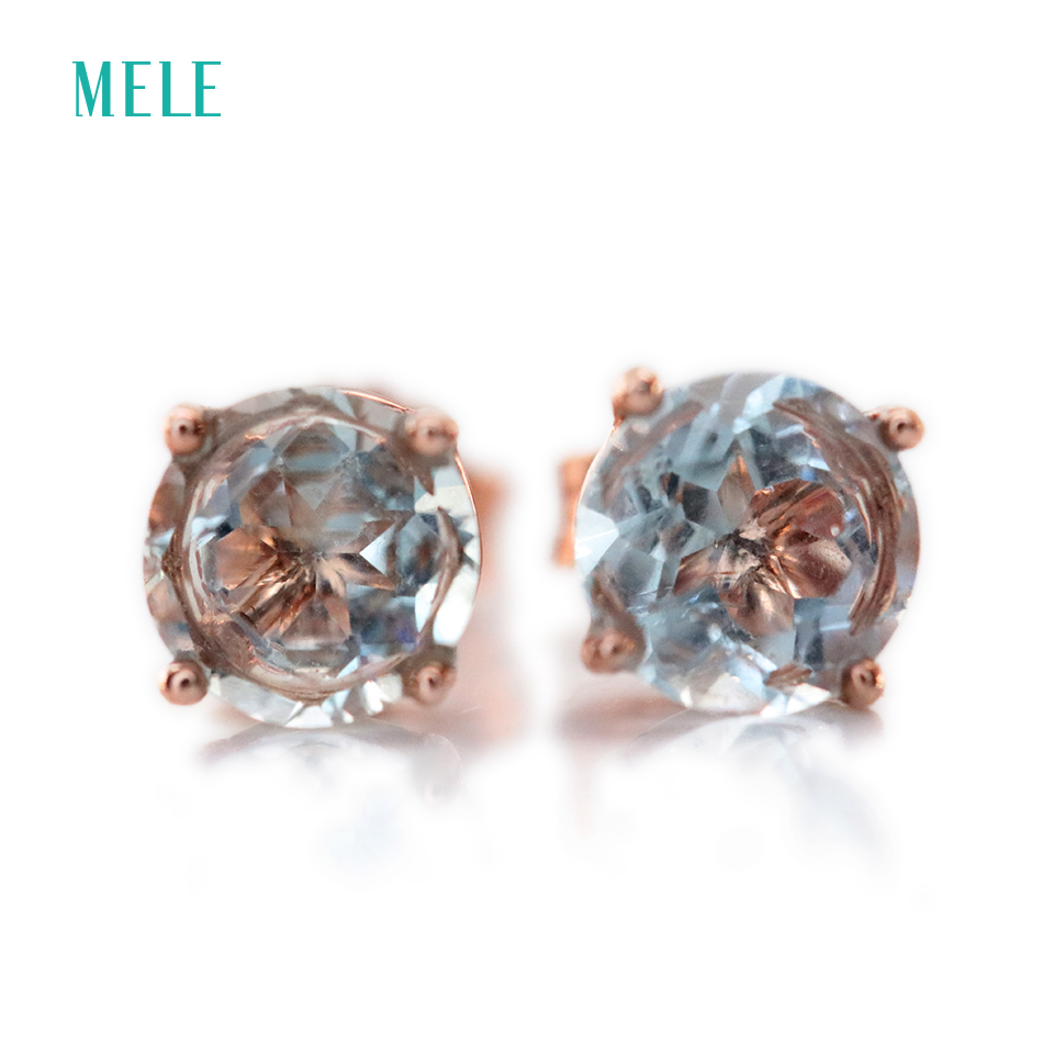 Natural aquamarine silver earring, round 6mm*6mm, light blue color and lovely design, fashion womens jewelry