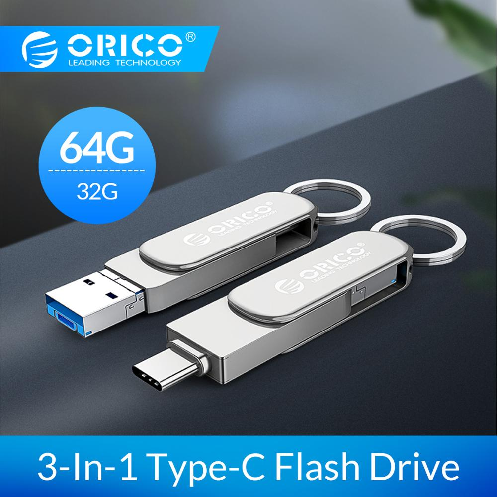 ORICO USB Flash Drive 3-In-Tipo-C USB3.0 1 Micro-B 64GB 32GB USB3.0 Stick USB OTG de Flash U Disco de Memória Flash Para O Telefone/Tablet/PC