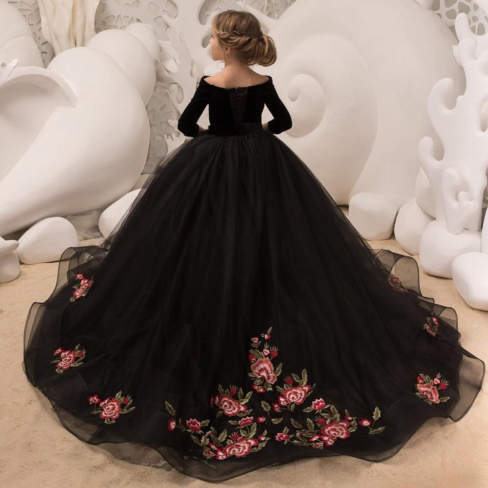 EXNY 2019 New Black Ball Gown   Flower     girl     Dresses   3/4 Sleeve Off the Shoulder Kids Floor Length   Girls   Communion   Dress