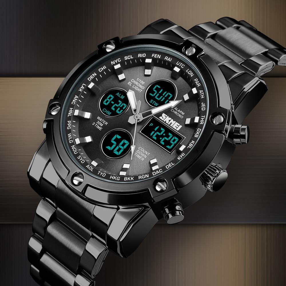 57b755e9a84 Aço Skmei Esporte Digital LED Relógios Homens Analógico Digital Homens  Relógio de Quartzo Dos Homens Relógio
