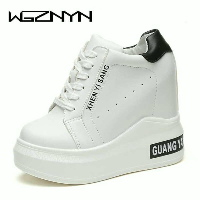 2019 Primavera Outono NOVA Mulher Plataformas Shoes Mulher sneakers Lace-Up 11 cm de Salto Alto Altura Crescente Botas zapatos de mujer W5