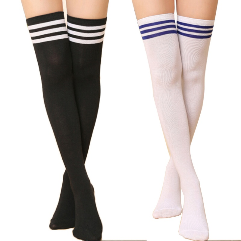 Summer Autumn Casual Over Knee Black Noir Socks Hot Thigh High Sexy Cotton Socks Womens Striped Over Knee Girl Lady Sock ...