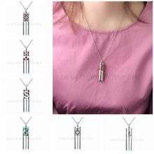 Chinese knot Stainless Steel Diffuser Holder Cylinder Necklace Pendant Essential Oil Aromatherapy Perfume Locket Women 12 Pads(China)
